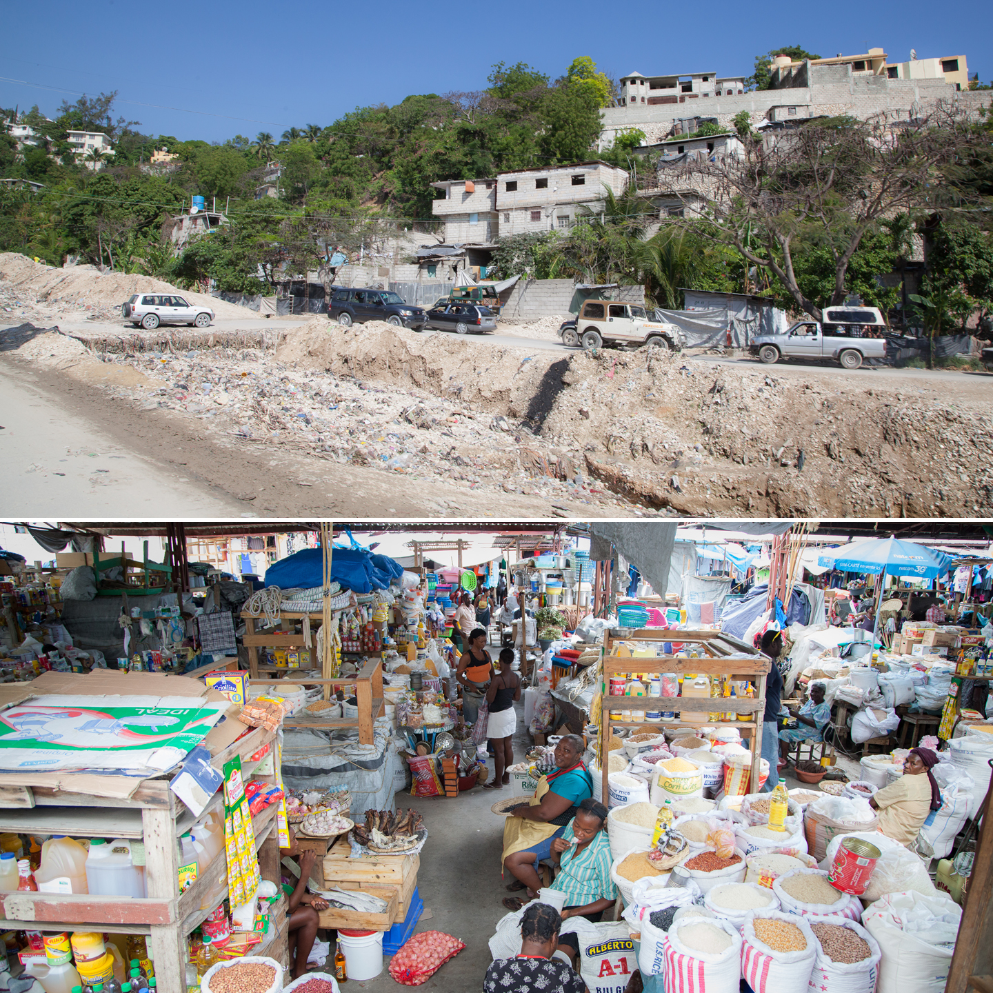 Haiti market and earthquake